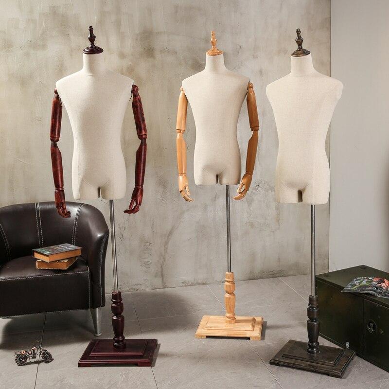 7b2145e8800bc Adereços cabide manequim de meio corpo masculino terno formal vestido de  terno rack de exibição modelo manequim com braços de madeira de tecido dos  homens