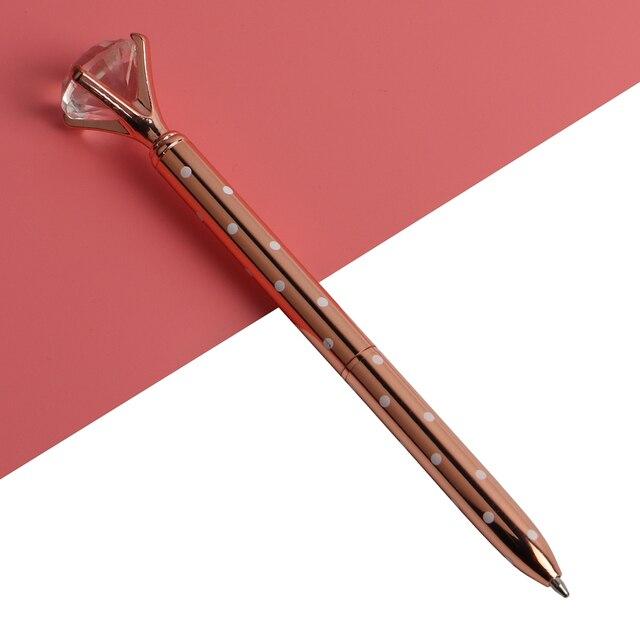 22Colors Ballpoint Pen Big Gem Metal Ball Pen With Large Diamond Blue And Black Magical Pen Fashion School Office Supplies 4