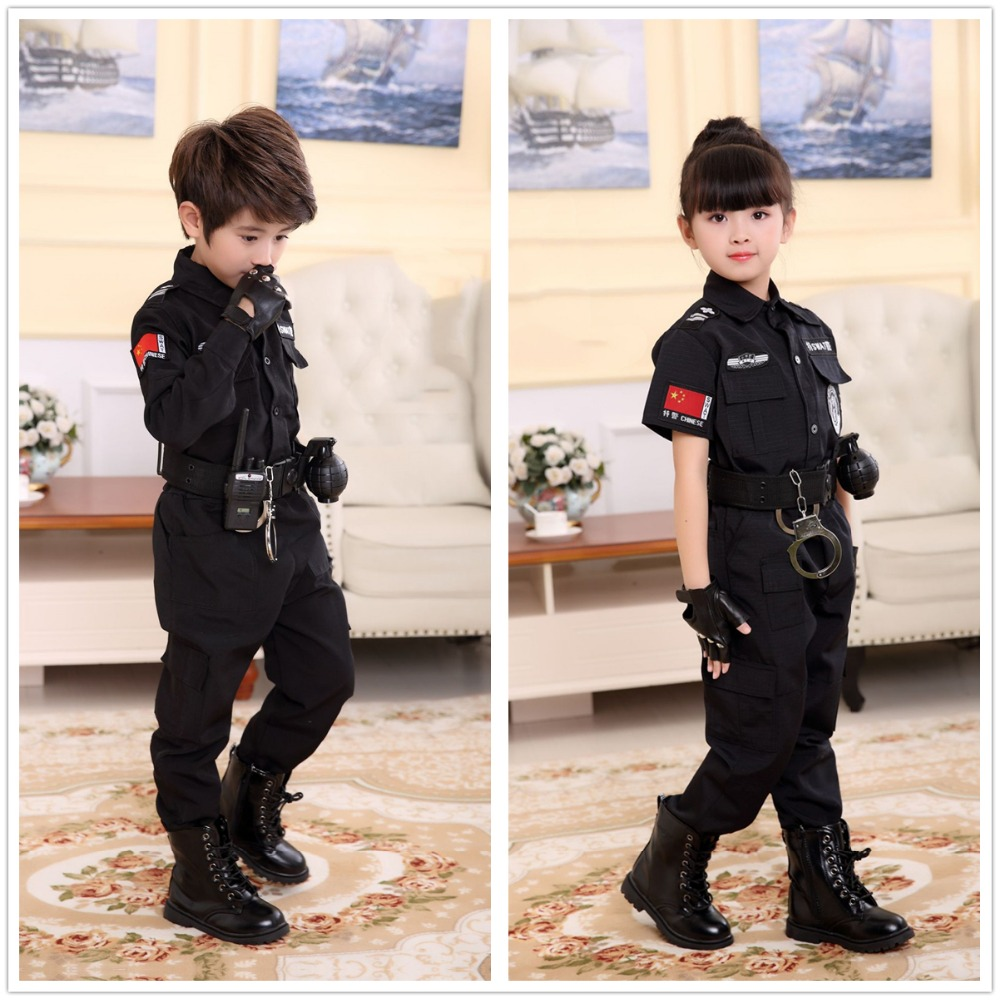 Ambitious Boys Policemen Costumes Children Cosplay For Kids Army Police Uniform Clothing Set Long Sleeve Fighting Performance Uniforms
