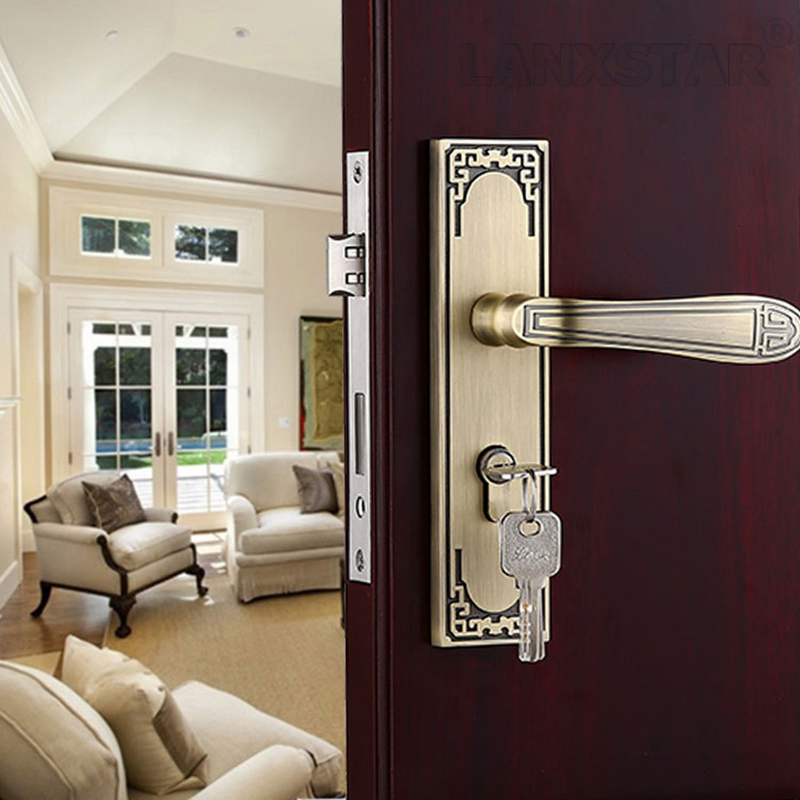 ФОТО High Quality Customized Zinc Alloy Copper Lockset Handle Lock European Style Indoor Big Lockbody Mute Locks