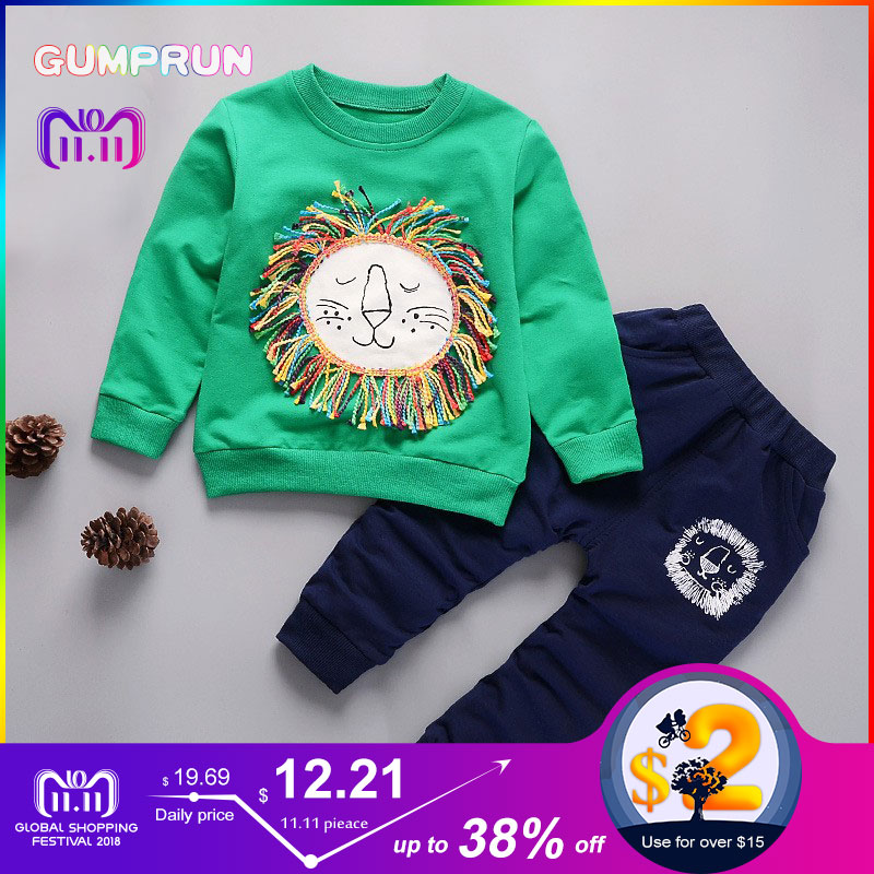 Kids Winter Clothes Cute Lion Printed T-shirt Set Comfortable Warm Children Clothing Girl Winter Clothes For Kids 1-4 years old kids winter clothes floral print long sleeve t shirt set comfortable warm boys children clothing girl winter clothes for kids