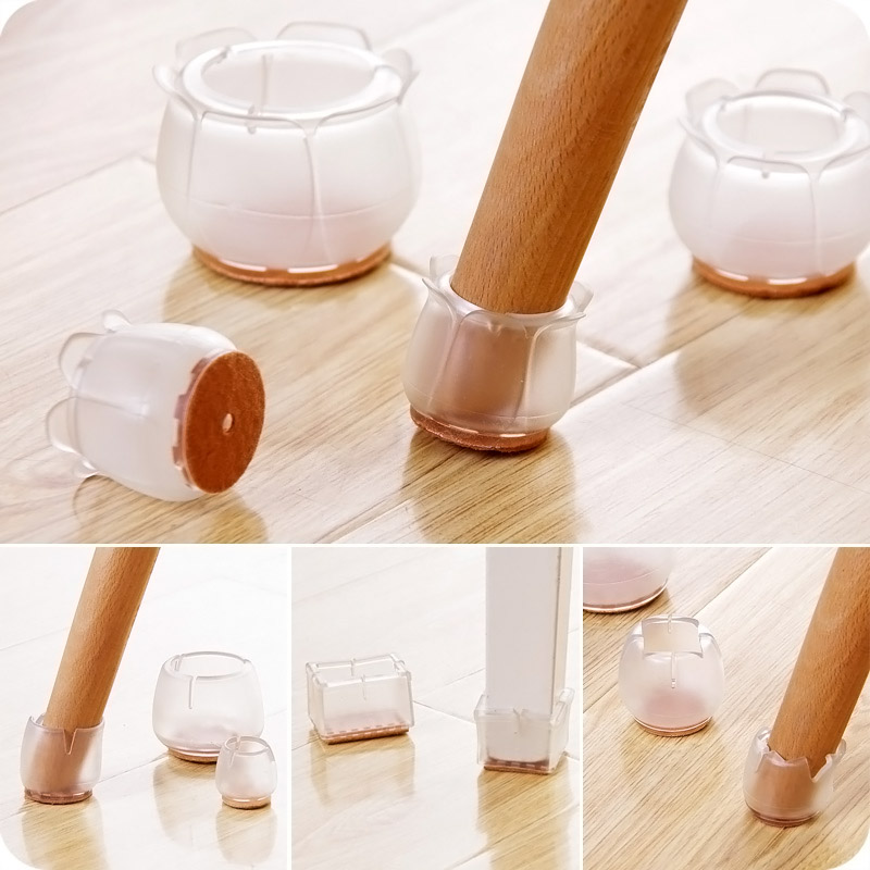 10pcs Silicone Rectangle Square Round Chair Leg Caps Feet Pads Furniture Table Covers Wood Floor Protectors   @LS
