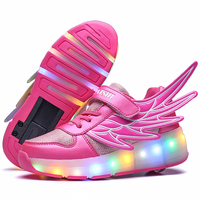 New Blue Green USB Charging Fashion Girls Boys LED Light Roller Skate Shoes For Children Kids Sneakers With Wheels One wheels