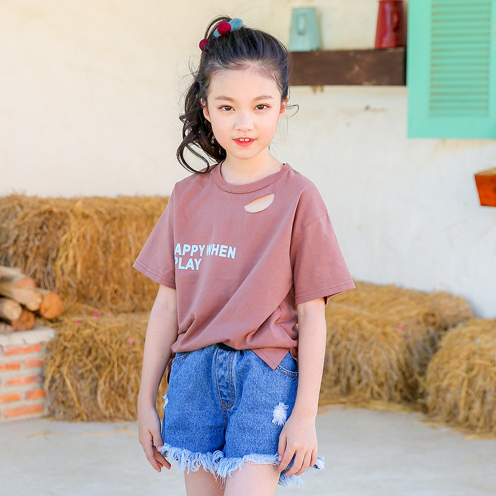 8b3c907b233 Kids set summer 2018 new denim shorts for medium and large kids two piece  fringed Korean children s wear-in Clothing Sets from Mother   Kids on ...