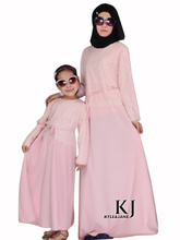 New Family Fitted Pink Lace Abaya Children Traditional Islamic Clothing Muslim Dress Girls Maxi Long Jilbabs Abaya in Dubai