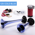 Cuernos de aire doble 12 V súper fuerte silbido coche azul motocicleta bocina de aire cuernos pueden elegir el color puede personalizar FB-SLSG