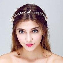 Moda de Cristal Flores de Vid de La Joyería de Oro de La Boda Nupcial Del Pelo Accesorios Para el Cabello Diademas de Perlas Mujeres Tocados