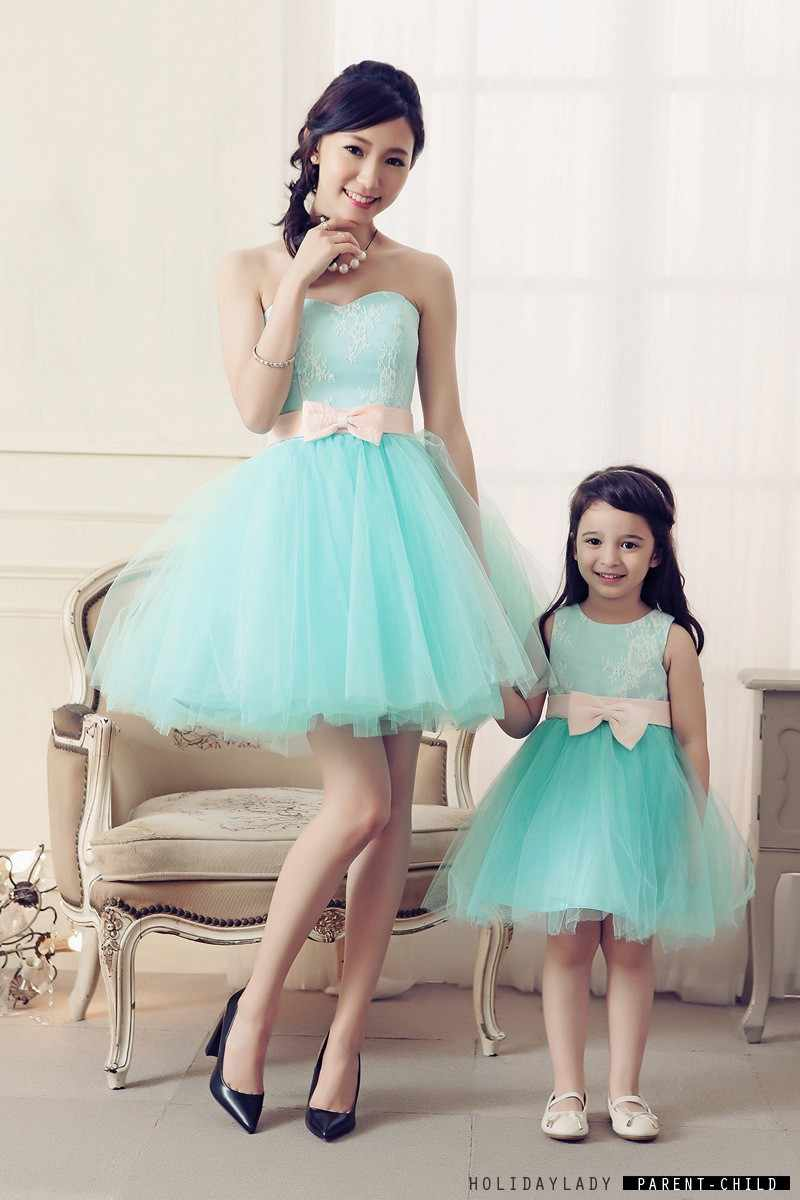 e3799bbebb75a Mother Daughter Dresses Lace Princess Family Look Birthday Party ...