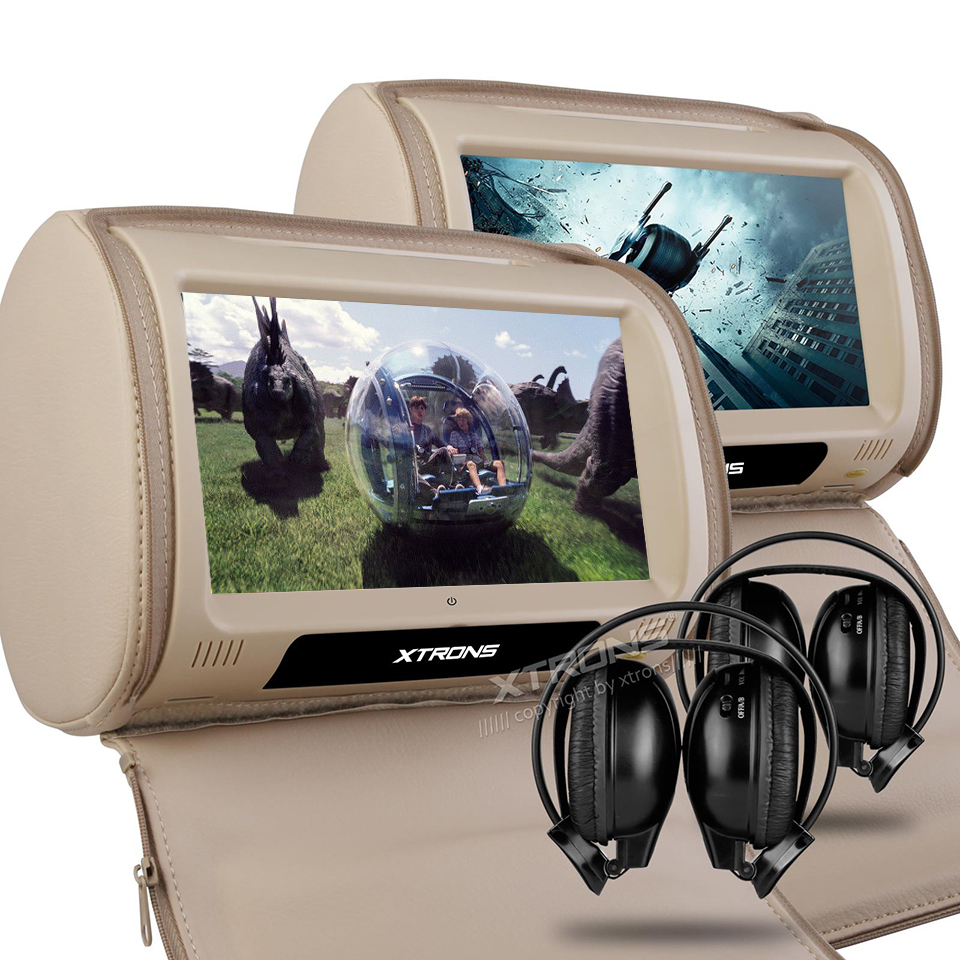 2x9 Headrest Car DVD Monitor Digital Touch Screen Support 32 Bits Games Cover With Zipper Pillow Built-in IR FM Backseat Video