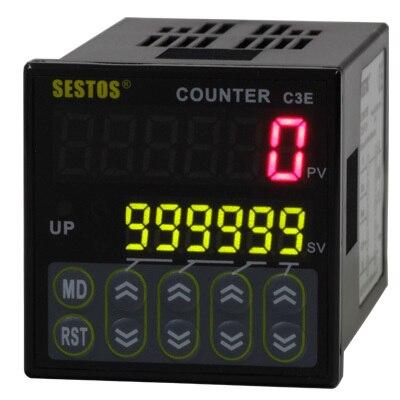 Sestos Industial 6 numérique préréglage échelle compteur Tact commutateur 12-24 V CE C3E-R-24