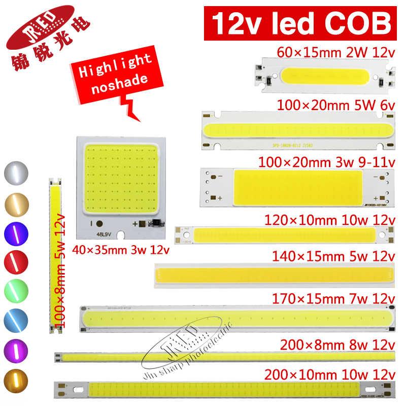 5pcs 12v COB led chip highlight matrix luzes bar Uniform light color  for DIY light white warm white  DC 12-14v 2w-10 led