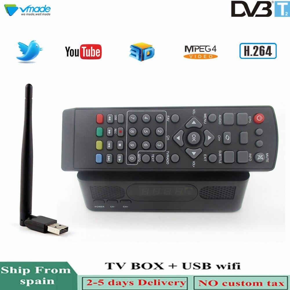 Vmade TV Tuner DVB T2 + USB WIFI Combo HD numérique terrestre récepteur de télévision prise en charge Youtube PVR 3D Interface standard décodeur