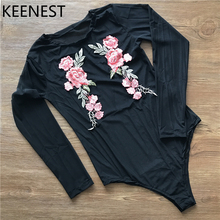 KEENEST Womens One Piece Monokini Beach Embroidered Thin See Through Swimwear Swimsuit Bathing Suits Tights