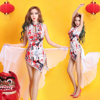 China Style Hiphop Dance Pants Dance Style Cheongsam Costumes Sexy Nightclub Bar Singer Dance Clothes