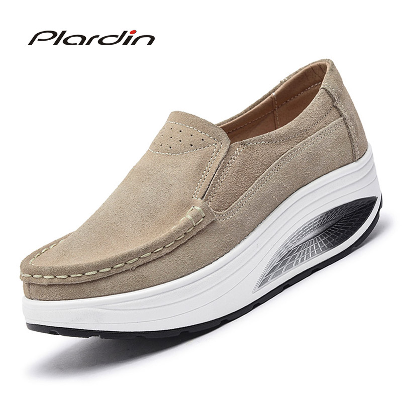 Plardin 2018 Four Seasons plus size woman Flat Platform genuine leather Fashion Casual Woman Shoes Suede cortex wedges Shoes plardin 2017 bohemia summer casual women wedges platform woman ladies metal decoration flip flops genuine leather shoes