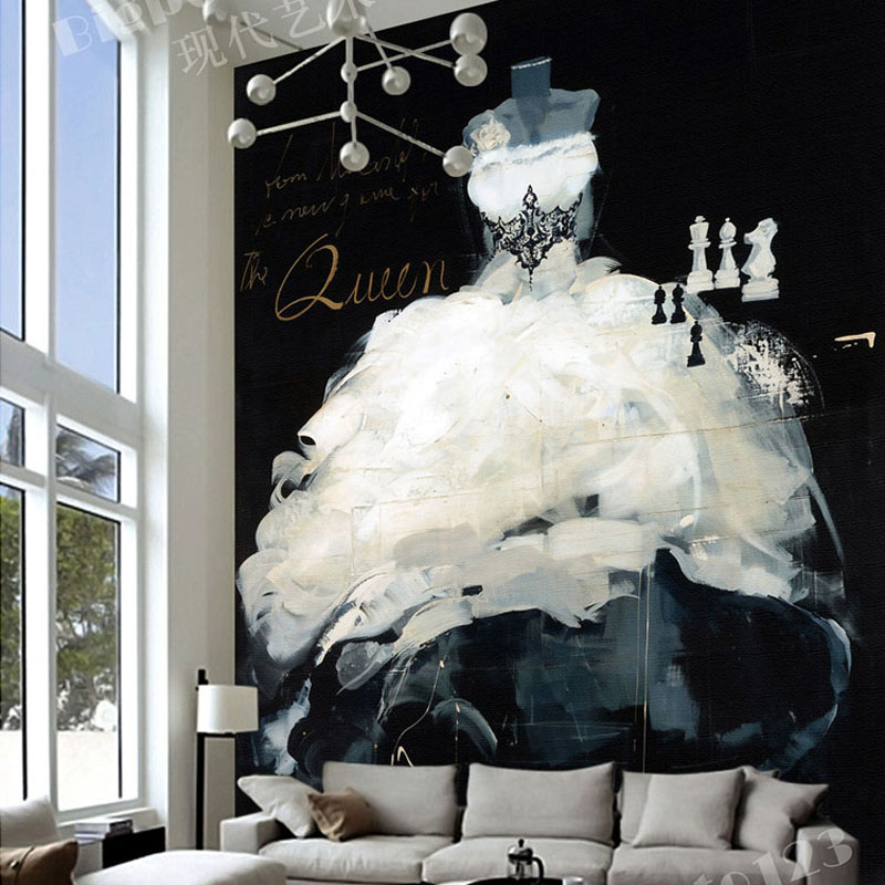 customize vintage 3D any size black and white dress oversized wall mural for living room sofa back wallmural wallpaper decor