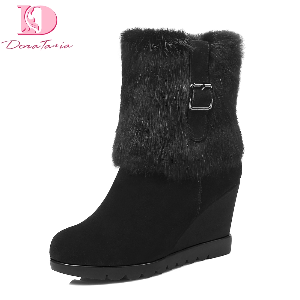 Doratasia Brand Design Cow Suede Leather Wedge High Heels Snow Boots Women Shoes Winter Warm Real Fur Woman mid calf Boots