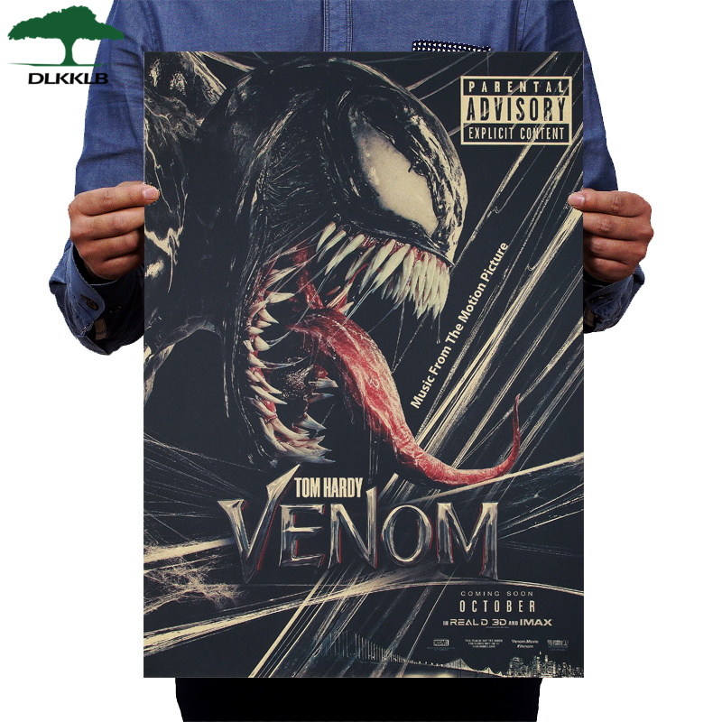 DLKKLB Classic Venom Poster Marvel Spiderman Vintage Movie Poster Kraft Paper Bar Cafe Home Decorative Painting Wall Stickers
