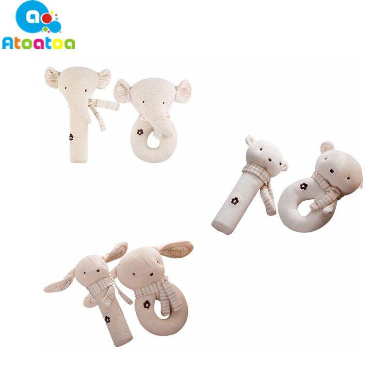 2Pcs/set Baby Animal Rattles Early Educational Sound BB Dolls Infant Teether Creative Elephant Bear Rabbit Plush Toys