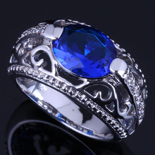 Rare Oval Blue Cubic Zirconia White CZ 925 Sterling Silver Ring For Women V0648 alluring oval blue cubic zirconia 925 sterling silver ring for women v0419