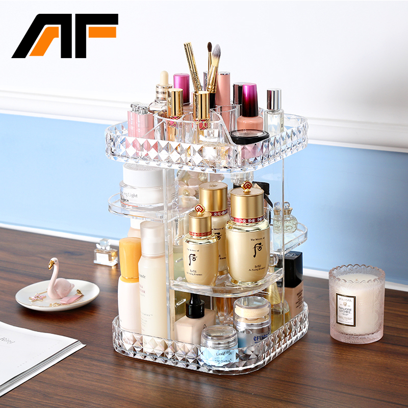 AF rotatif grand acrylique cosmétique organisateur clair en plastique stockage bain salle de bain Rack étagère pour étui maquillage C214
