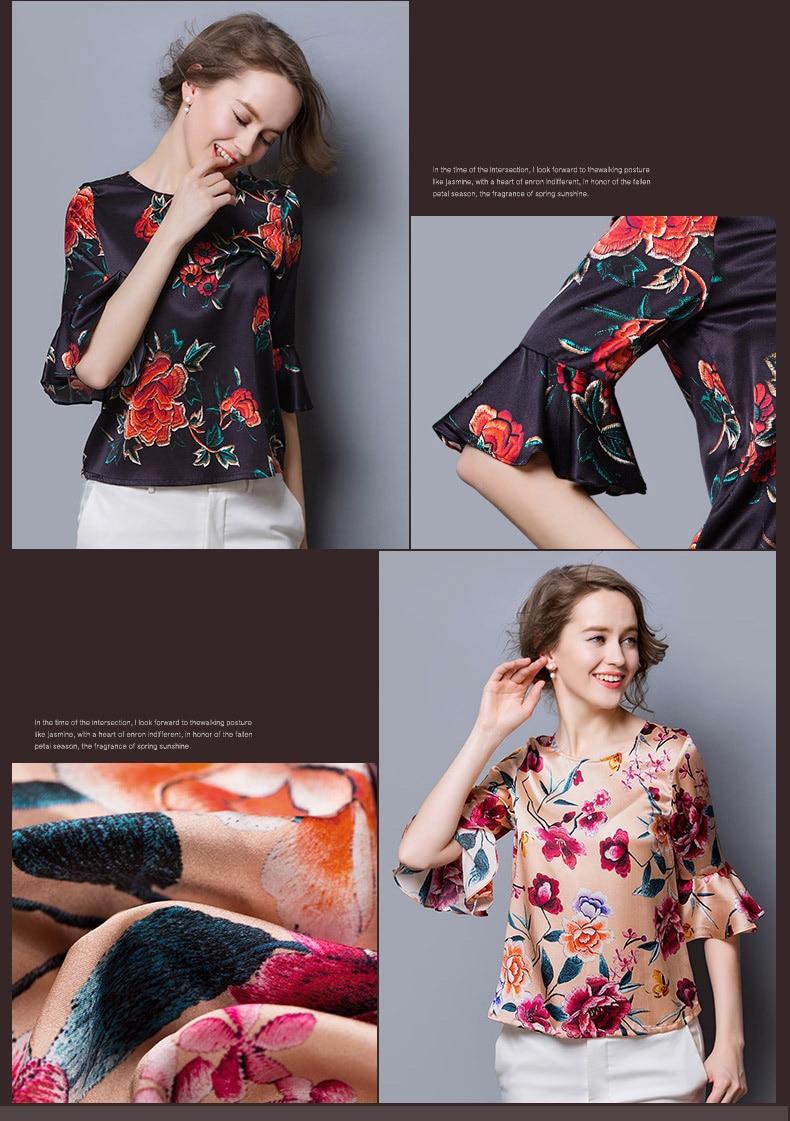 Seta Fornitore Motivo Floreale 03 Tessuto Delle China 02 Donne Estate Camicia In Raso 100 Gelso Di 01 Stampato wU6PI6q