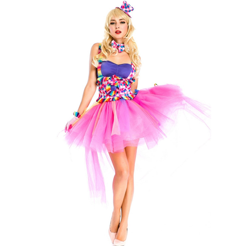 colors new adult clown dresses halloween girl clown costumes masquerade cosplay adult costumes circus female performance - Girl Clown Halloween Costumes