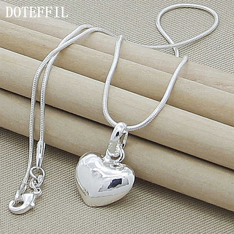 Wholesale 925 Silver Color Necklace  Fashion New Jewelry Heart Pendant Necklace For Women Girl Gifts