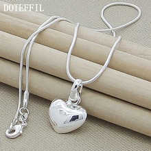 Wholesale 925 Sterling Silver Necklace  Fashion New Jewelry Heart Pendant Necklace For Women Girl Gifts