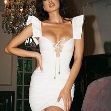 White Ruffles Lace Up Bodycon Dress