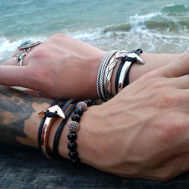 15-25 cm homens jóias náutico âncora ganchos pulseiras & bangles multilayer couro genuíno titanium aço men pulseira da amizade