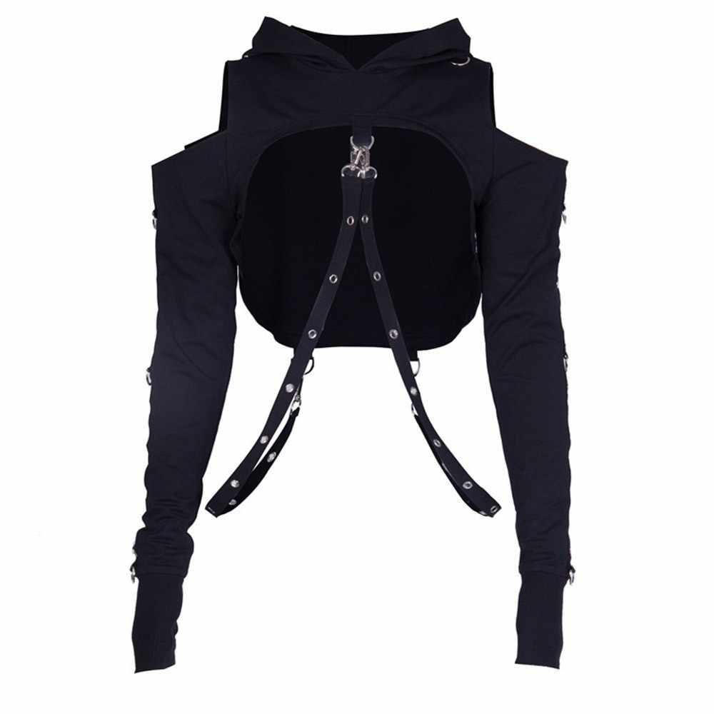 Rosetic czarna dziura bluza z kapturem bluza z kapturem w stylu gotyckim Off Shoulder bluzy z kapturem damskie moda fajny zamek Fitness Streetwear dziewczyna Top