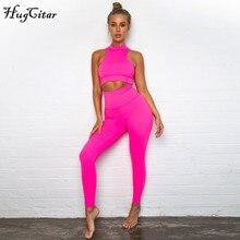 Hugcitar kolsuz camiş elastik tayt iki 2 adet neon pembe seti 2019 yaz kadın moda sıkı rahat seti