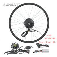 KUNRAY Electric Bicycle Conversion Kit 250W 36V 48V Brushless Gear Hub Motor For Road MTB Bike Front Wheel Ebike Set With LCD5