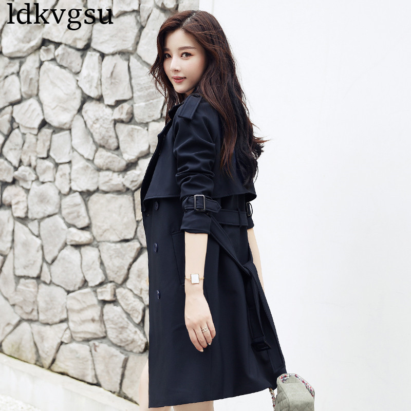 2019 New fashion Spring Autumn   Trench   Coats Women korean Waist Thin Double-breasted Solid Navy Color Long Windbreaker Coat V305