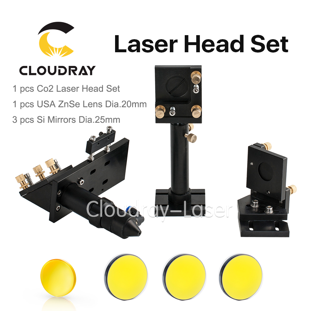 Cloudray CO2 Laser Head Set CO2 + Reflective Si Mirror 25mm + USA Focus Lens 20mm for Laser Engraving Cutting Machine best quality aluminum laser head for co2 laser cutting engraving machine lens dia 20mm fl63 5mm left in beam