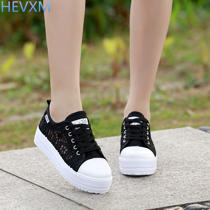 HEVXM 2017 new Summer Women Shoes Casual Cutouts Lace Canvas Shoes Hollow Floral Breathable Platform Flat Shoe sapato feminino dreamshining summer women shoes casual cutouts lace canvas shoes hollow floral breathable platform flat shoe sapato feminino