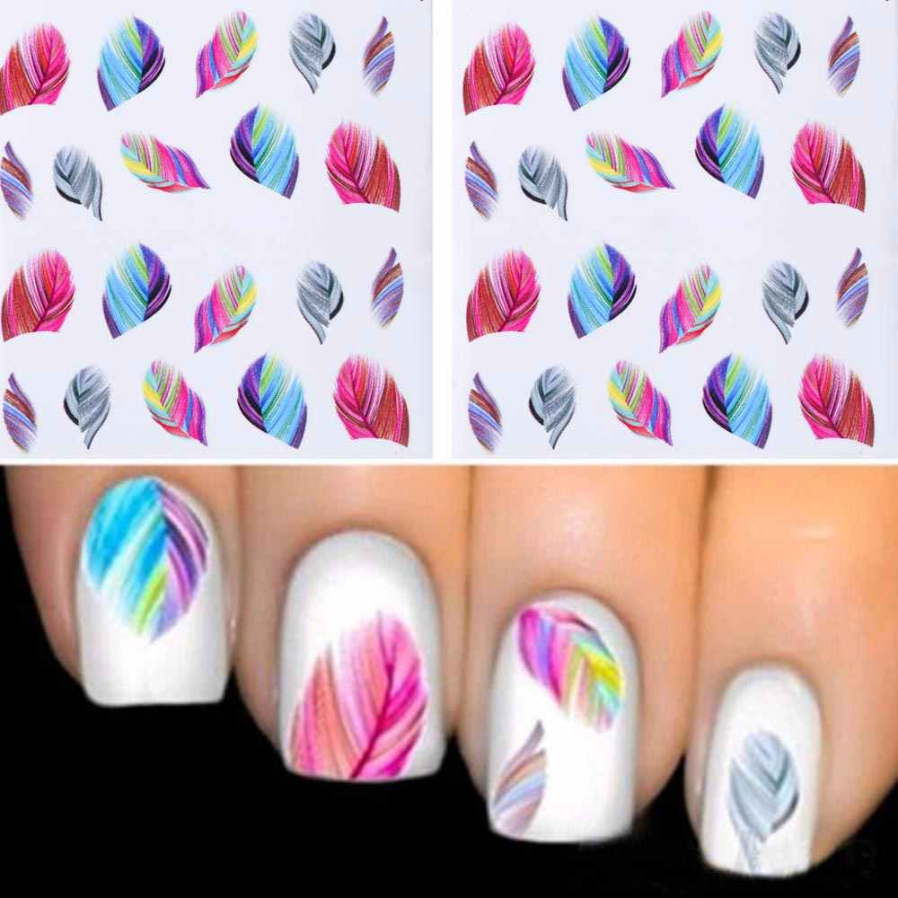 TOMTOSH 1PC ashionable Nail Decorations Art Tips Feather Water Transfers Nail Sticker for Ladies Feather Decals nail art tools