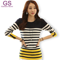 Knitted Cotton Winter Women'S Blouse 2016 Autumn Patchwork Long Sleeve Female Striped Ladies Top