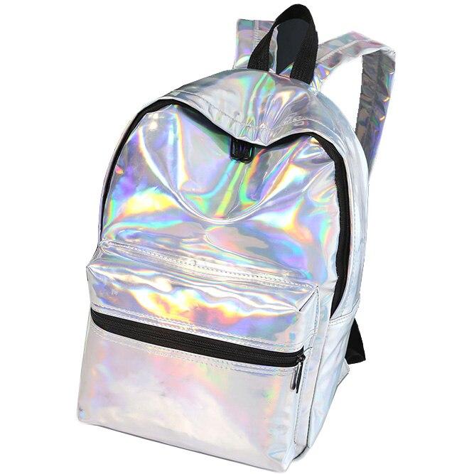 Shiny Silver Soft Women Backpack Laser Shoulder Bags For Women Girls Back bag Colorful Face Simple