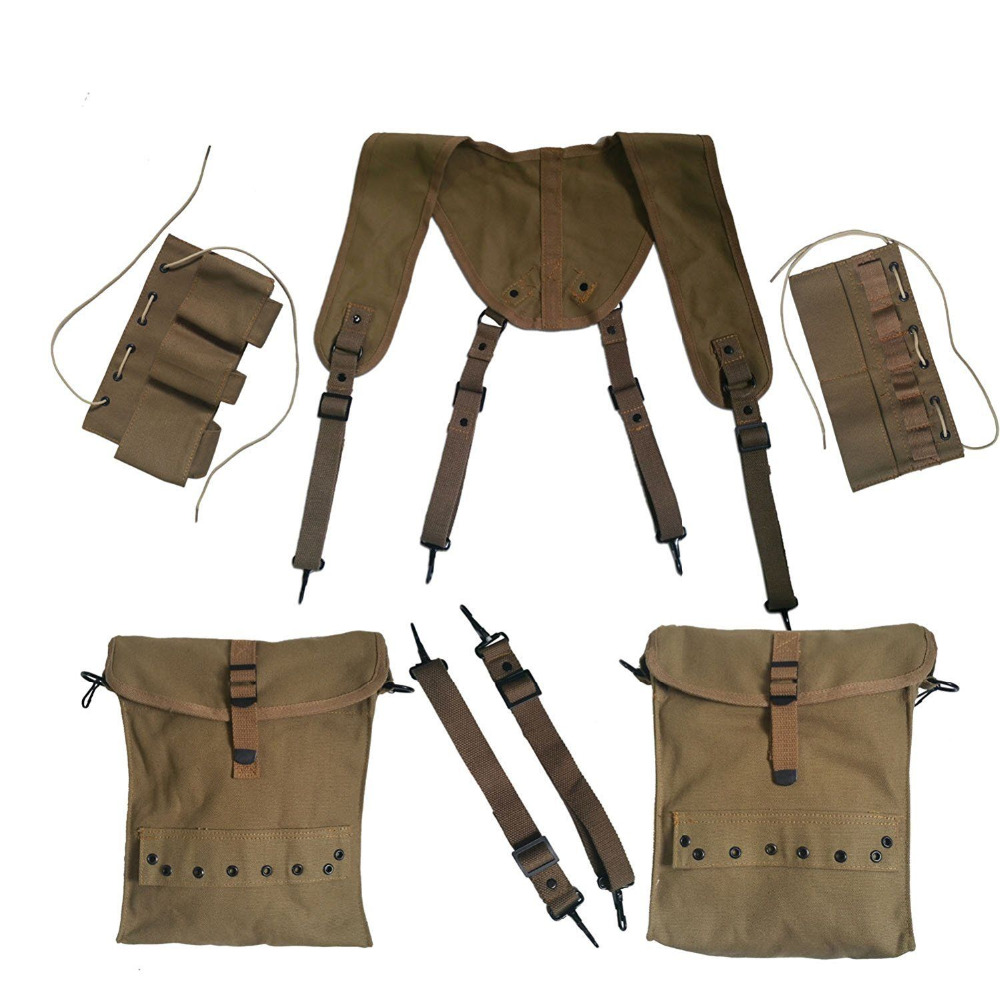 WWII WW2 US Army Combat Individual Medic Equipment Field Kit Suspenders Cantles World military Store