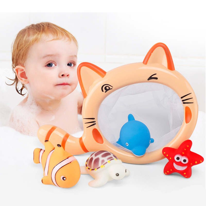 Babies Water Play Bath Toys Water Games Soft Rubber Animals For Bathroom Swimming Beach Toys For Kids Fish Sands