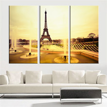 Frameless Canvas Painting Tower Sunset Fountain Oil Picture Wall Art Scenery A4 Art Print Poster Modern Home Decoration 3 Pieces