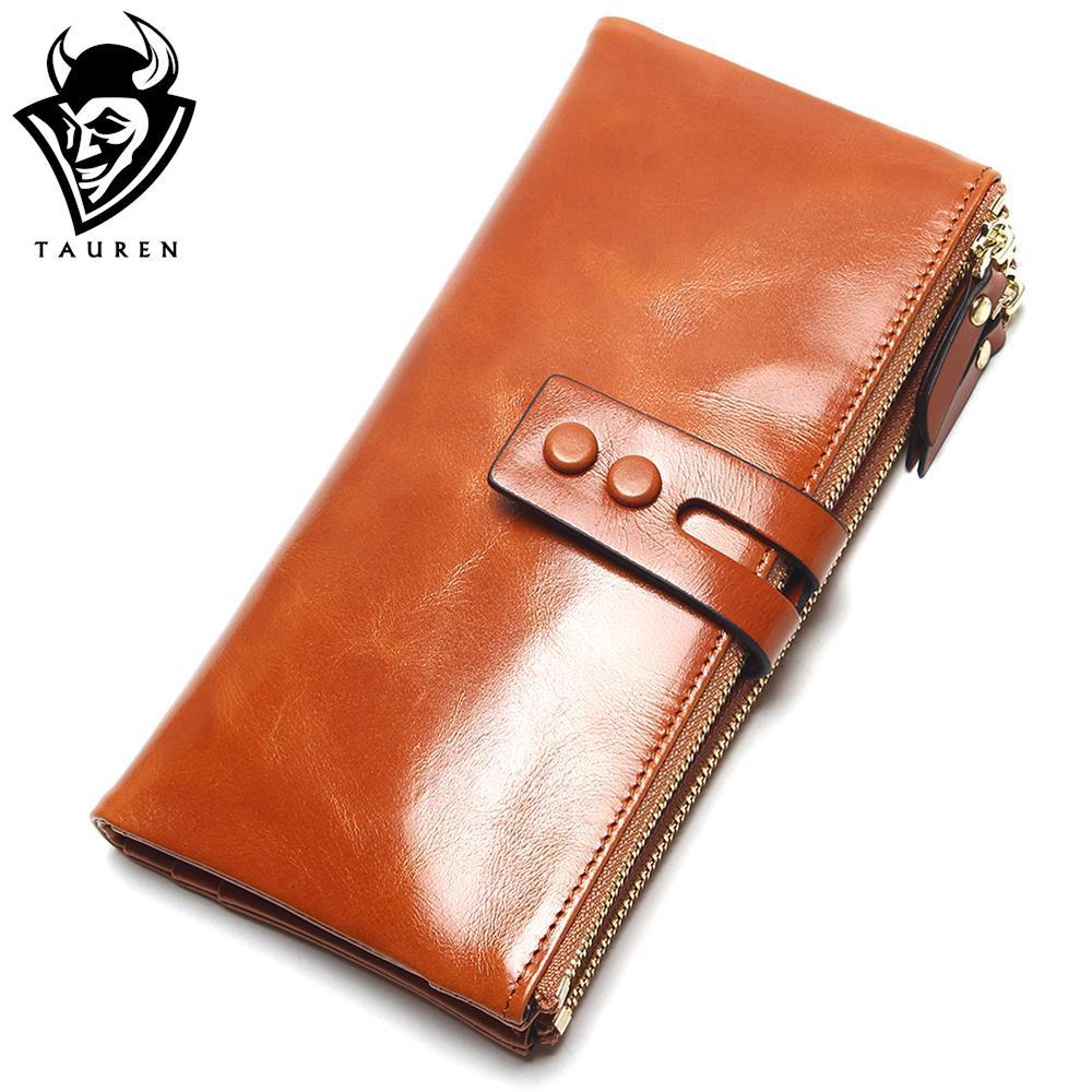 2018 New Fashion Women Oil Wax Wallets Female Genuine Leather Womens Wallet Zipper Design Women's Purse Ladies Long Phone Holder