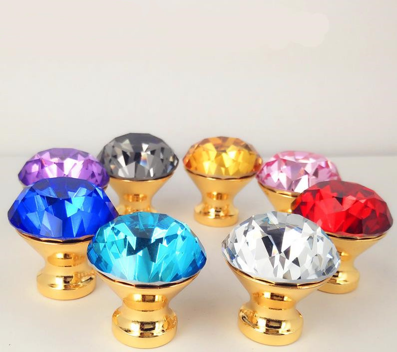 LCH 25mm 30mm 40mm Modern Style Colored Diamond Crystal Knobs Cupboard Handles Door Pull Gold Finish Gold baseLCH 25mm 30mm 40mm Modern Style Colored Diamond Crystal Knobs Cupboard Handles Door Pull Gold Finish Gold base