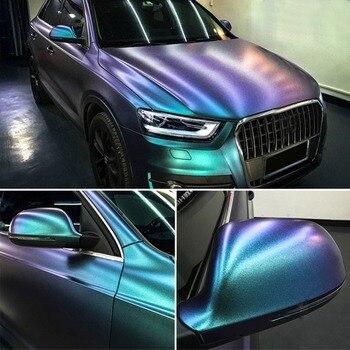 1.52*10M Glossy DIY Car Body Film Chameleon Pearl Glitter Vinyl Sticker Purple Blue Chameleon Automobiles Car Wrap Vinyl Film