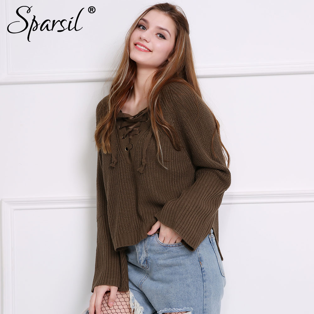 fa63db08e0 Spasril Women Lace Up Knitted Sweater Drawstring Big V Neck Flared Cuff  Split Hem Pullovers Sexy Plus Size Loose Casual Knitwear-in Pullovers from  Women s ...