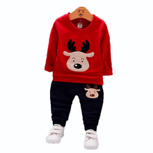 Spring Autumn Children Boy Girl Clothing Suits Baby Fashion T-shirt Pants 2Pcs/Sets Kids Cartoon Deer Clothes Toddler Tracksuit