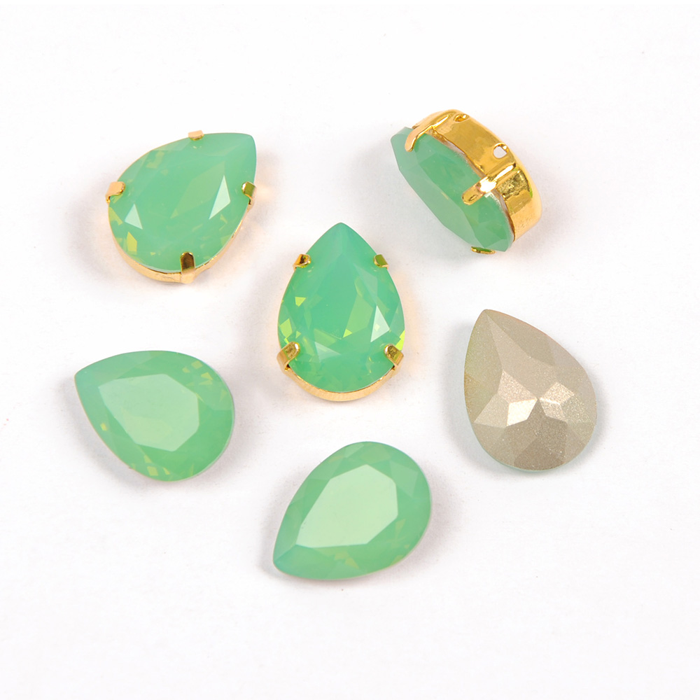 Pacific Opal Colors Crystal Glass Sew On Rhinestones With Gold Silver Claw pointed back Sew On Claw Rhinestones For Garment in Rhinestones from Home Garden