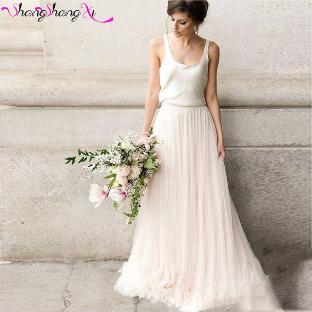 aff2164bf84 Sexy 2 Piece Girls Bridesmaid Dresses 2017 Blush White Tulle A-Line  Spaghetti Strap Wedding Guest Dresses Vestidos Mujer BD002